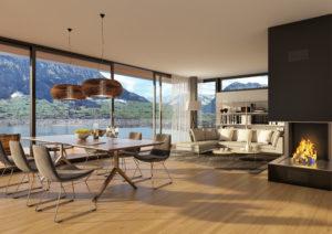 Visualisierung Wohnzimmer, MFH in Ennetbürgen