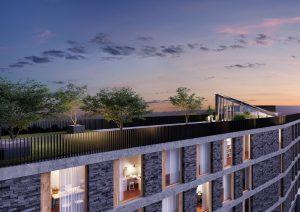 Dachterrasse_Architektur-Visualisierung_Nachtlicht-Gebauede-Kloten