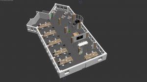 3D Grundriss Bürogeschoss