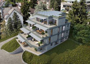Luftbild Visualisierung Neubau Mehrfamilienhaus