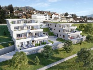 Terrassenhäuser Luftbild Visualisierung
