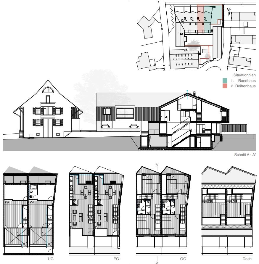 Neubau von 4 Reihenhäusern am Rande der Bauzone