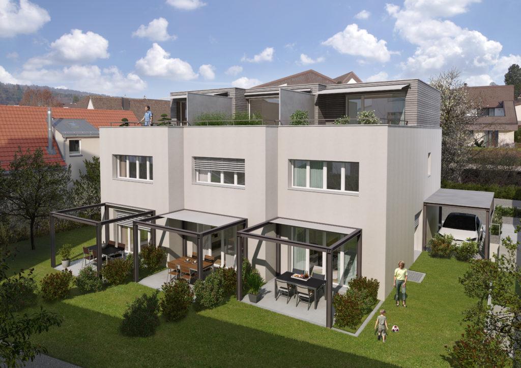 Neubau 3 Reiheneinfamilienhäuser mit Carport