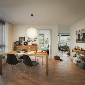 Tüfwis Essbereich mit Blick ins Wohnzimmer