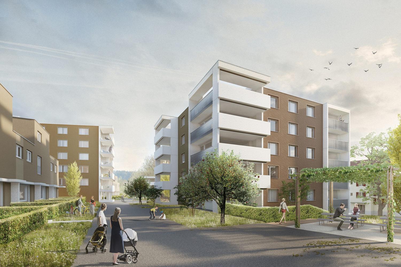 Überbauung mit 16 Reihenhäusern und 42 Wohnungen